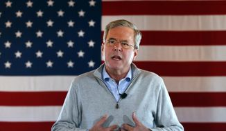 In this Jan. 29, 2016, photo, Republican presidential candidate, former Florida Gov. Jeb Bush speaks during a campaign event at Greasewood Flats Ranch in Carroll, Iowa. (AP Photo/Paul Sancya)