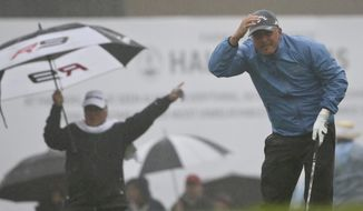 Freddie Jacobson, from Sweden, tries to follow the flight of his tee shot through the rain on the first hole of the South Course at Torrey Pines during the final round of the Farmers Insurance Open golf tournament  Sunday, Jan. 31, 2016, in San Diego.  The play was suspended later. (AP Photo/Lenny Ignelzi)