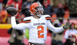 "FILE - In this Dec. 27, 2015, file photo, Cleveland Browns quarterback Johnny Manziel (2) throws during the first half of an NFL football game against the Kansas City Chiefs in Kansas City, Mo. Manziel had a second straight troubling season with Cleveland, one that included him being benched for misbehavior off the field. Browns owner Jimmy Haslam Haslam said Manziel made ""undeniable"" progress as a starter, but the 2012 Heisman Trophy winner's commitment remains a major question mark. (AP Photo/Ed Zurga, File)"