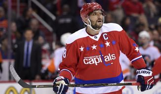Washington Capitals left wing Alex Ovechkin (8), of Russia, looks on during the first period of an NHL hockey game against the Philadelphia Flyers, Wednesday, Jan. 27, 2016, in Washington. (AP Photo/Nick Wass)