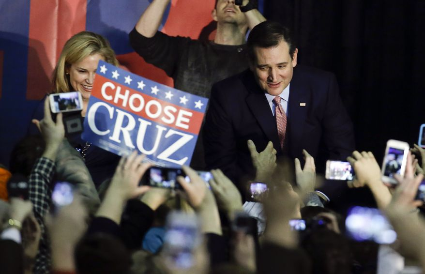 "At a victory party at the Iowa State Fair in Des Moines, Sen. Ted Cruz said his caucus win was a victory for ""courageous conservatives"" and a blow to the Washington establishment. (Associated Press)"