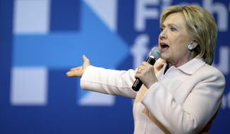 Democratic presidential candidate Hillary Clinton speaks at a rally at Five Flags Center in Dubuque, Iowa, Friday, Jan. 29, 2016. (AP Photo/Andrew Harnik)