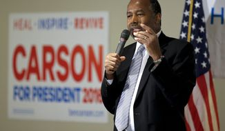 Republican presidential candidate, Ben Carson speaks during a campaign event at the University of Iowa, Friday, Jan. 29, 2016 in Iowa City, Iowa. (AP Photo/Chris Carlson)