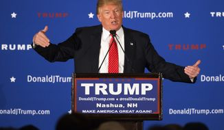 Republican presidential candidate Donald Trump speaks during a campaign stop at the Radisson Hotel, Friday, Jan. 29, 2016, in Nashua, N.H. (AP Photo/John Minchillo)
