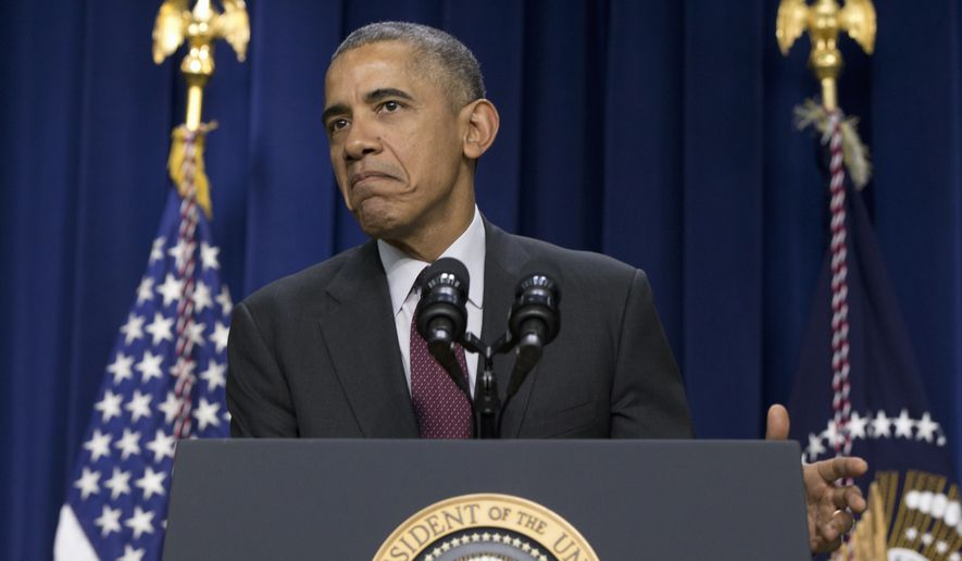 President Obama pauses as he speaks in the South Court Auditorium in the Eisenhower Executive Office Building on the White House complex in Washington to commemorate the 7th Anniversary of the Signing of the Lilly Ledbetter Fair Pay Act on Jan. 29, 2016. (Associated Press) **FILE**