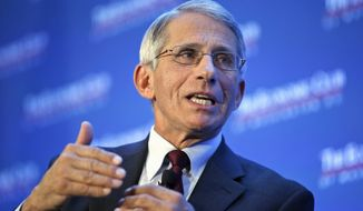 Dr. Anthony Fauci, director of the National Institute of Allergy and Infectious Diseases, speaks at the Economic Club of Washington on various topics including the Zika virus, Friday, Jan. 29, 2016, in Washington. (AP Photo/Alex Brandon)