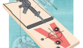 Illustration on the need for a new U.S. military rifle by Linas Garsys/The Washington Times
