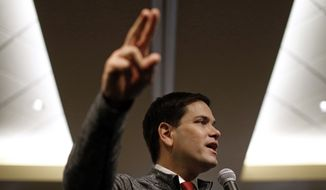 Republican presidential candidate, Sen. Marco Rubio, R-Fla., speaks at a town hall in Sioux City, Iowa, Saturday, Jan. 30, 2016. (AP Photo/Patrick Semansky)