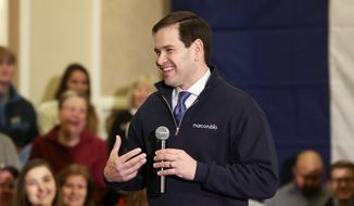 Republican presidential candidate, Sen. Marco Rubio, R-Fla. speaks to supporters during a campaign stop Friday, Jan. 29, 2016, at Hotel Julien Dubuque in Dubuque, Iowa. (Nicki Kohl/Telegraph Herald via AP)