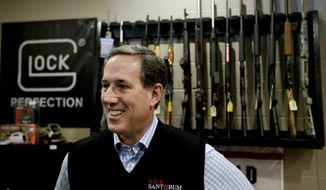 Republican presidential candidate, former Pennsylvania Sen. Rick Santorum speaks during a campaign stop at the Central Impact Shooting Range, Saturday, Jan. 30, 2016, in Boone, Iowa. (AP Photo/Chris Carlson) ** FILE **