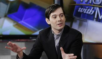 "Former Turing Pharmaceuticals CEO Martin Shkreli is interviewed by host Maria Bartiromo during her ""Mornings with Maria Bartiromo"" program on the Fox Business Network, in New York, Tuesday, Feb. 2, 2016. (AP Photo/Richard Drew) ** FILE **"