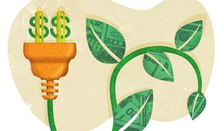 Illustration on the costs of green energy by Greg Groesch/The Washington Times