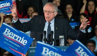Democratic presidential candidate Sen. Bernie Sanders, I-Vt., addresses the crowd at a campaign rally at Grand View University in Des Monies, Iowa, Sunday, Jan. 31, 2016. (AP Photo/J. David Ake)