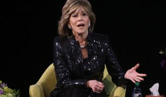 Actress Jane Fonda speaks during a forum at the Coolidge Corner Theatre, in Brookline, Mass., Sunday, Jan. 31, 2016. Fonda was presented with the Coolidge Award Sunday for her contributions to cinema. (AP Photo/Steven Senne)
