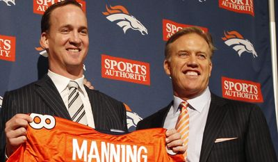 FILE - In thisMarch 20, 2012, file photo, Denver Broncos quarterback Peyton Manning and executive vice president of football operations John Elway pose during an NFL football news conference at the team's headquarters in Englewood, Colo. Elway is one of the very few to say he won it all, then simply walked away. Now, Peyton Manning is trying to follow in Elway's footsteps, wearing the same Broncos uniform Elway wore when he walked off into the sunset nearly 20 years ago.  (AP Photo/David Zalubowski, File)