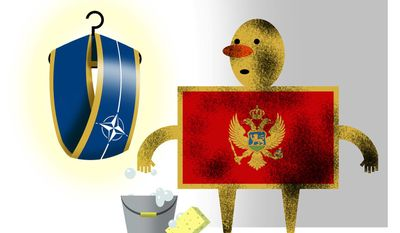 Illustration on Montenegro's need for reform as a condition for NATO membership by Alexander Hunter/The Washington Times