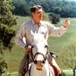 "President Reagan riding his beloved horse ""El Alamein"" at his western home Rancho Del Cielo in 1986. (National Archives)"