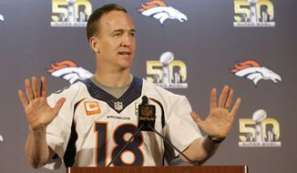 Denver Broncos quarterback Peyton Manning speaks to reporters in Santa Clara, Calif., Wednesday, Feb. 3, 2016. The Denver Broncos will play the Carolina Panthers in Super Bowl 50 Sunday, Feb. 7, 2016. (AP Photo/Jeff Chiu)