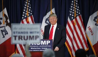 Republican presidential candidate Donald Trump speaks during a campaign event, Monday, Feb. 1, 2016 in Waterloo, Iowa. (AP Photo/Paul Sancya)** FILE **