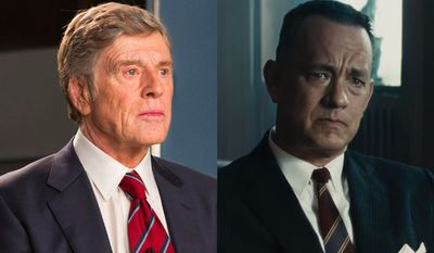 """Robert Redford stars as Dan Rather in """"Truth"""" and Tom Hanks stars as James B. Donovan in """"Bridge of Spies"""" now available on Blu-ray."""
