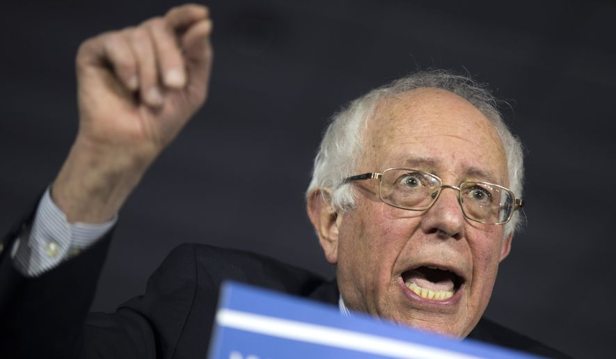 Democratic presidential candidate Sen. Bernie Sanders, I-Vt., speaks during a caucus night party, on Monday, Feb. 1, 2016, in Des Moines, Iowa. (AP Photo/Evan Vucci) ** FILE **