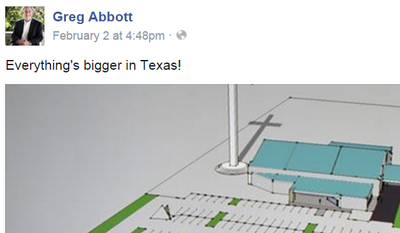 Texas Gov. Greg Abbott's remarks on his Facebook page, regarding the planned construction of an immense cross in Corpus Christi, Texas.
