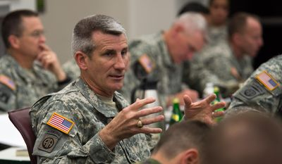 This April 17, 2014, file photo, provided by the U.S. Army, shows then-Maj. Gen. John W. Nicholson Jr. speaking to his senior leaders at Fort Bragg, N.C. (Sgt. Mikki L. Sprenkle/U.S. Army via AP)