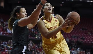 Maryland's Brionna Jones drives to the basket as Michigan State's Jasmine Hines defends during the first half of an NCAA college basketball game Friday, Feb. 5, 2016, in College Park, Md. (AP Photo/Gail Burton)