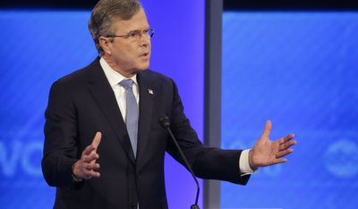 Republican presidential candidate, former Florida Gov. Jeb Bush answers a question during a Republican presidential primary debate hosted by ABC News at the St. Anselm College  Saturday, Feb. 6, 2016, in Manchester, N.H. (AP Photo/David Goldman)