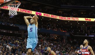 Charlotte Hornets' Nicolas Batum (5) prepares to dunk as he beats a host of Washington Wizards to the basket during the first half of an NBA basketball game in Charlotte, N.C., Saturday, Feb. 6, 2016. (AP Photo/Bob Leverone)