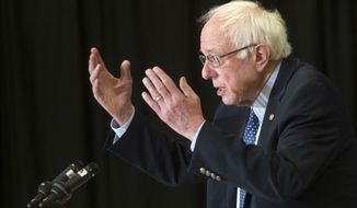 Democratic presidential candidate Sen. Bernie Sanders, I-Vt., speaks during a news conference to discuss the Trans-Pacific Partnership (TPP) trade agreement at the IBEW 490 Hall, Wednesday, Feb. 3, 2016, in Concord, N.H. (AP Photo/John Minchillo)