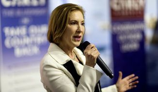 Republican presidential candidate Carly Fiorina speaks during a campaign event at the Aviation Museum of New Hampshire Wednesday, Feb. 3, 2016, in Londonderry, N.H. (AP Photo/David Goldman)