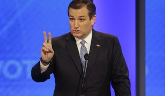 Republican presidential candidate, Sen. Ted Cruz, R-Texas, answers a question during a Republican presidential primary debate hosted by ABC News at the St. Anselm College  Saturday, Feb. 6, 2016, in Manchester, N.H. (AP Photo/David Goldman)