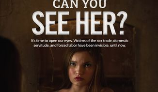 This image provided by the Department of Homeland Security (DHS) shows a poster part of the Blue Campaign to raise public awareness of human trafficking. Awareness campaigns are underway at airports from New York to Los Angeles, as DHS has posted messages on video monitors and airport shopping bags. Other industries, including hotels and trucking, also are increasing efforts to detect trafficking. (Department of Homeland Security via AP)
