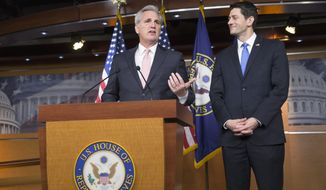 Majority Leader Kevin McCarthy of Calif., left, accompanied by House Speaker Paul Ryan, R-Wis., meets with reporters on Capitol Hill in Washington, Thursday, Feb. 4, 2016. The Republican leaders announced the formation of six committee-led task forces charged with developing agendas on national security, tax reform, jobs, health care reform, elimination of poverty, and more. Ryan also pledged that House Republicans will schedule time this year to vote on legislation reforming the criminal justice system. (AP Photo/J. Scott Applewhite)