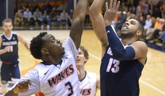 Gonzaga guard Josh Perkins, right, shoots as Pepperdine guard Jeremy Major defends during the first half of an NCAA college basketball game Saturday, Feb. 6, 2016, in Malibu, Calif. (AP Photo/Mark J. Terrill)