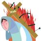 Illustrations on Christians and Yazidis in Syria and Iraq by Lians Garsys/The Washington Times