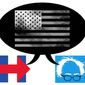 Illustration on the vision of America offered by Hillary and Bernie by Alexander Hunter/The Washington Times
