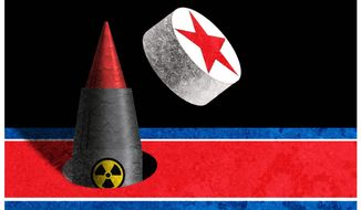 Illustration on North Korea's nuclear weapon development by Alexander Hunter/The Washington Times