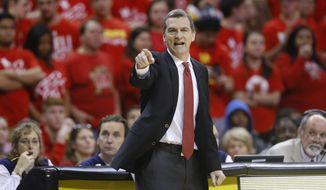 Maryland head coach Mark Turgeon directs his players during an NCAA college basketball game against Purdue, Saturday, Feb. 6, 2016, in College Park, Md. (AP Photo/Patrick Semansky) **FILE**