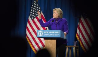 Democratic presidential candidate Hillary Clinton speaks at the Verizon Wireless Center during the 2016 McIntyre Shaheen 100 Club Celebration, Friday, Feb. 5, 2016, in Manchester, N.H. (AP Photo/John Minchillo)