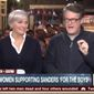 "MSNBC's Joe Scarborough ranted against feminists Gloria Steinem and Madeline Albright for supporting Hillary Clinton after they ""ignored"" her husband's ""sexual exploitation"" of Monica Lewinsky. (MSNBC)"