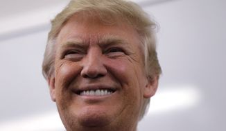 Republican presidential candidate Donald Trump during a campaign stop police headquarters in Manchester, N.H., Thursday, Feb. 4, 2016. (AP Photo/Charles Krupa)