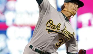 FILE - In this May 5, 2016, file photo, Oakland Athletics relief pitcher Tyler Clippard throws against the Minnesota Twins in the eighth inning of a baseball game in Minneapolis. Clippard agreed Monday, Feb. 8, 2016, to a $12.25 million, two-year contract with the Arizona Diamondbacks. (AP Photo/Jim Mone, File)