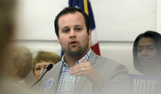 In this Aug. 29, 2014, file photo, Josh Duggar, executive director of FRC Action, speaks in favor the Pain-Capable Unborn Child Protection Act at the Arkansas state Capitol in Little Rock, Ark.  (AP Photo/Danny Johnston, File) **FILE**