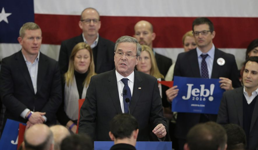 Republican presidential candidate, former Florida Gov. Jeb Bush speaks during a primary night rally, Tuesday, Feb. 9, 2016, in Manchester, N.H. (AP Photo/Steven Senne)