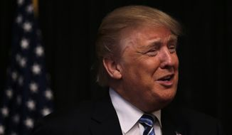 Republican presidential candidate Donald Trump during a campaign stop in Manchester, N.H., Monday, Feb. 8, 2016. (AP Photo/Charles Krupa)