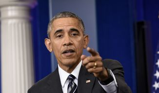 President Barack Obama speaks during a news conference in the Brady Press Briefing Room in Washington, in this Feb. 5, 2016, file photo. (AP Photo/Susan Walsh) ** FILE **
