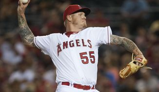 FILE - In this Sept. 29, 2015, file photo, Los Angeles Angles pitcher Mat Latos throws during a baseball game against the Oakland Athletics in Anaheim, Calif.  A person familiar with the situation says Latos has agreed to a $3 million, one-year contract with the Chicago White Sox. The person spoke to The Associated Press on Tuesday, Feb. 9, 2016, on condition of anonymity because the deal had not been announced by the team.  (Kevin Sullivan/The Orange County Register via AP, File)   MAGS OUT; LOS ANGELES TIMES OUT; MANDATORY CREDIT