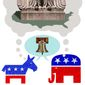 Illustration on the real agenda of both parties by Alexander Hunter/The Washington Times